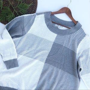 Ava & Viv | Sweater Gray White Color Block Plus 3X